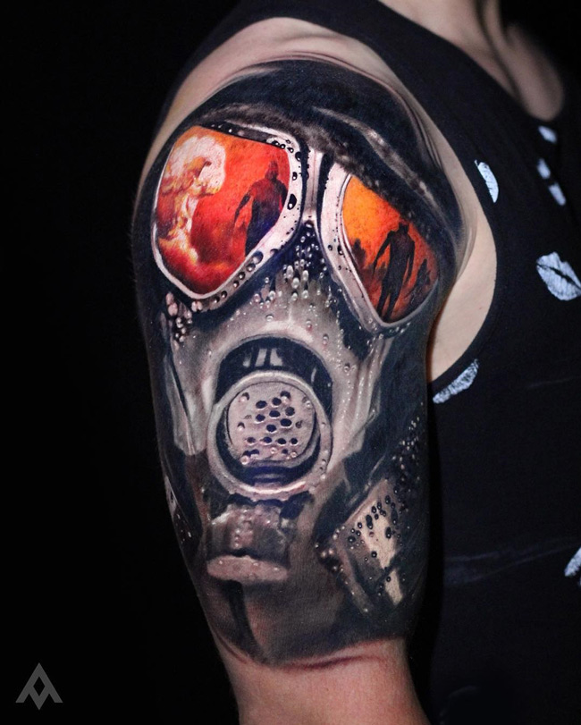 War Gas Mask Tattoo