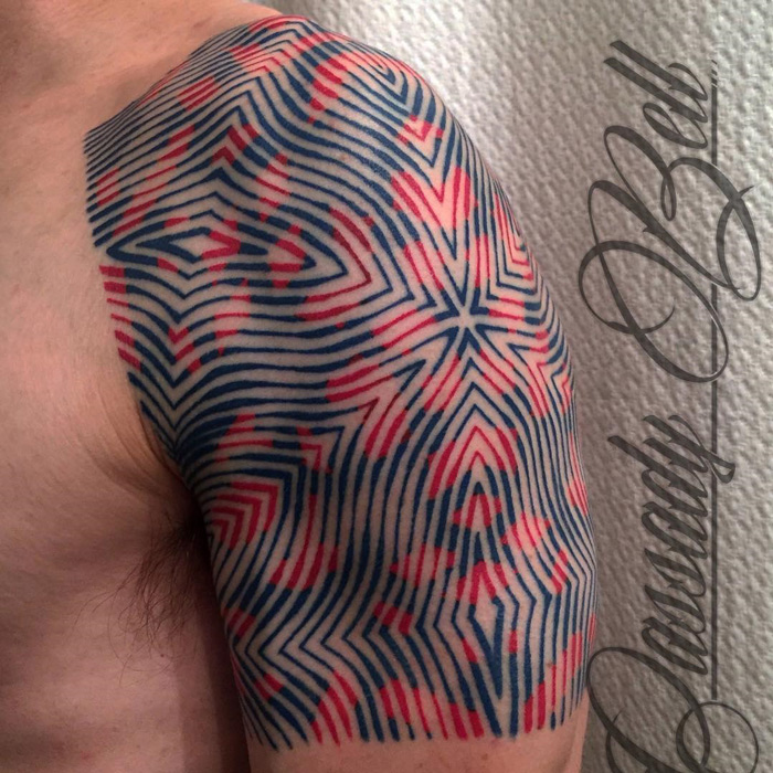 Geometric Pattern Guys Shoulder Tattoo