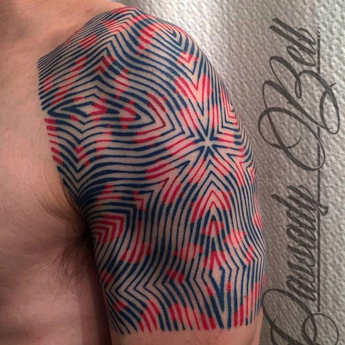 Geometric Pattern Guys Shoulder Tattoo