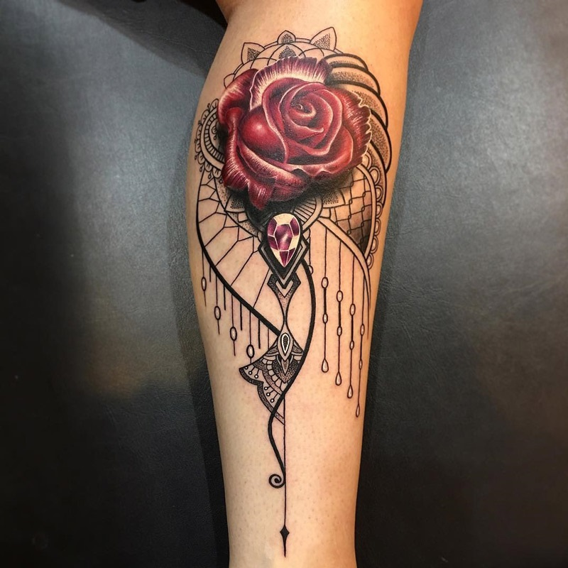 Rose & Jewel Ornamental Tattoo