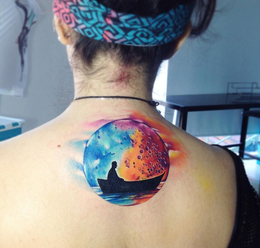 Boat & Watercolor Moon