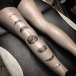 Moon Phases Leg Tattoo