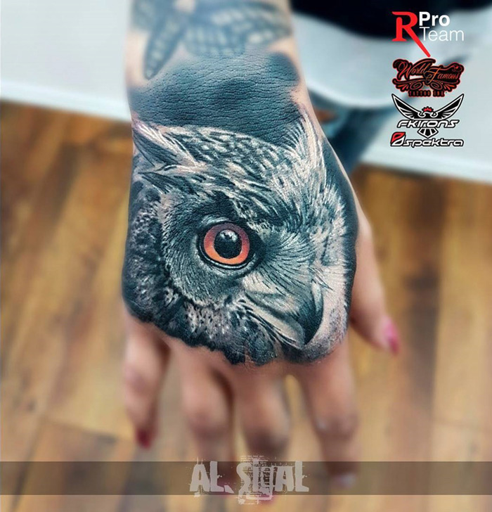 Owl face on girls hand