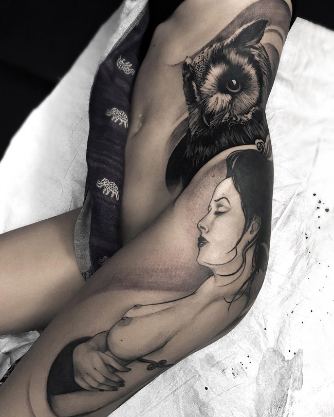 Owl & Lady Side Tattoo