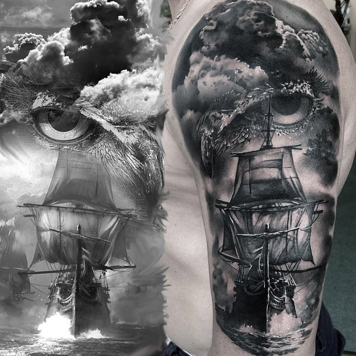 Owl & Sailing Ship Tattoo