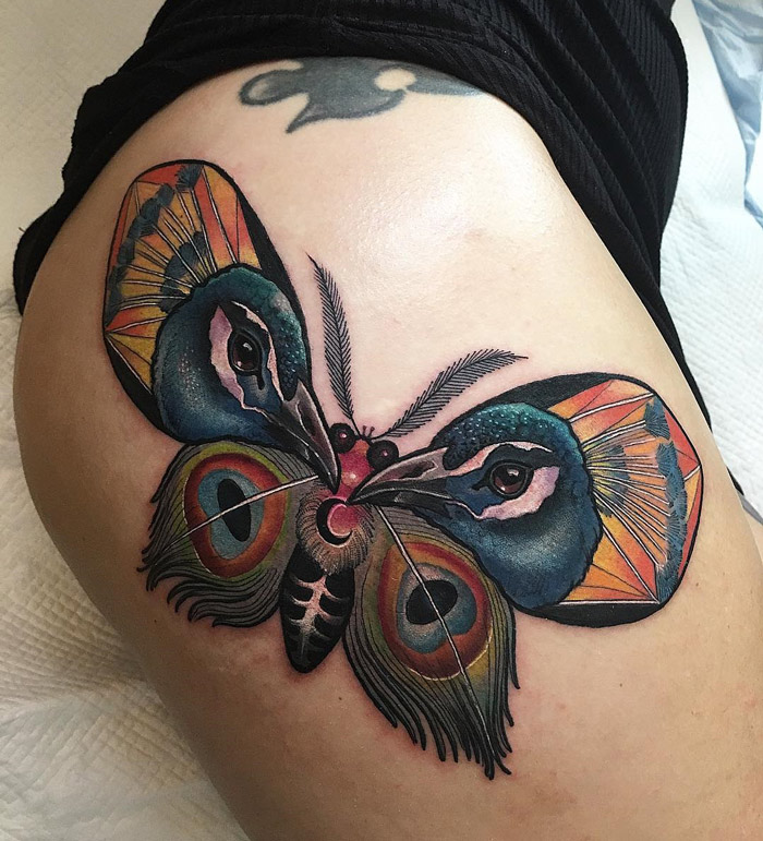 Peacock Moth Girls Hip