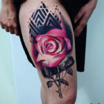 Pink Rose Thigh Tattoo