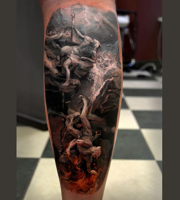 Poseidon Leg Tattoo