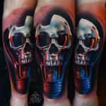 Skull Lamp Guys Forearm Tattoo