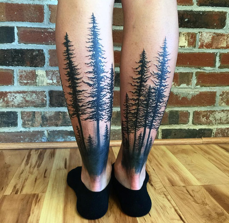 Trees back of girls legs