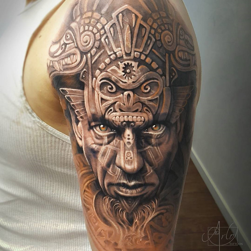 Aztec warrior portrait & animal carvings best tattoo design ideas