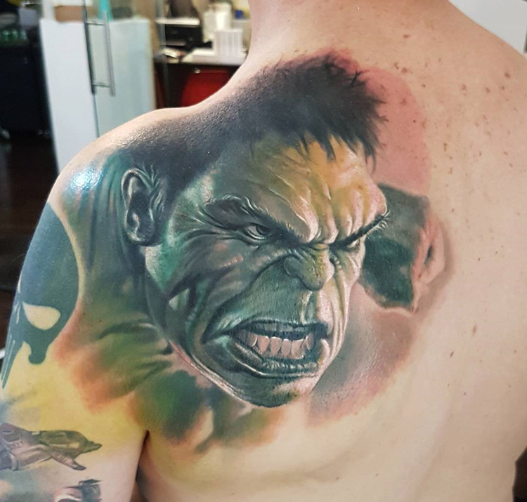 incredible hulk mens back tattoo best tattoo design ideas. Black Bedroom Furniture Sets. Home Design Ideas