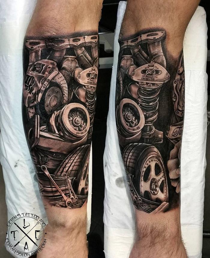 27 Forearm Tattoo Design Ideas: Mechanic Mens Forearm Piece