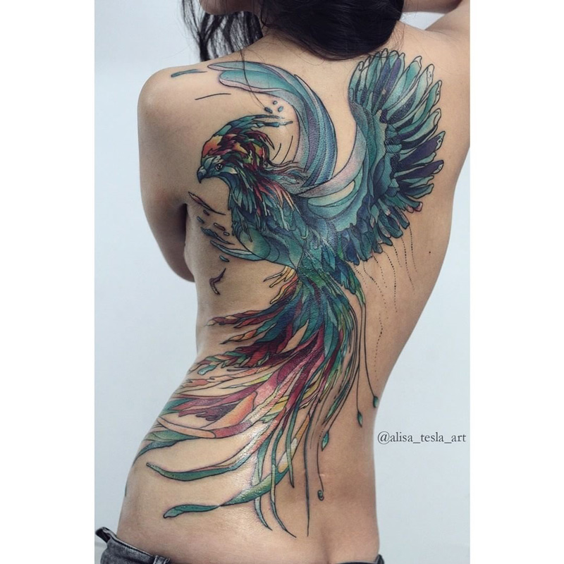 Girls Phoenix Back Tattoo