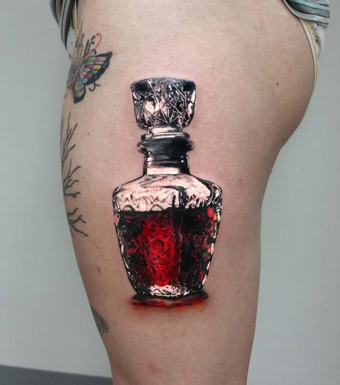 Whiskey or Blood Thigh Tattoo