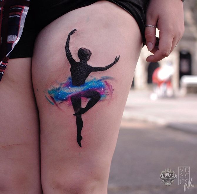 Ballerina Silhouette on Girls Thigh