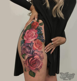 Colorful Roses Botanical Hip Tattoo