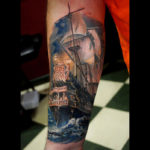 Realistic Galleon Tattoo