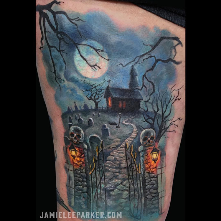 haunted graveyard scene best tattoo ideas designs. Black Bedroom Furniture Sets. Home Design Ideas
