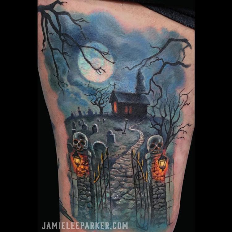 Haunted graveyard scene best tattoo design ideas for Cemetery tattoo pics