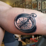 3D Compass Mens Arm Tattoo