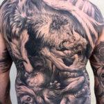 Lion & Demons Mens Back Tattoo