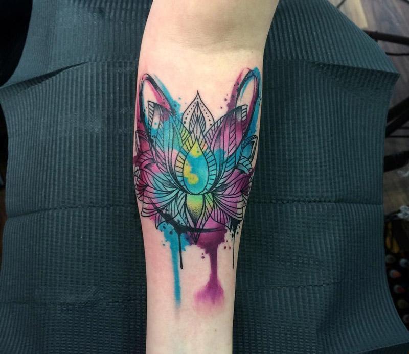 Watercolor Lotus Flower Best Tattoo Design Ideas