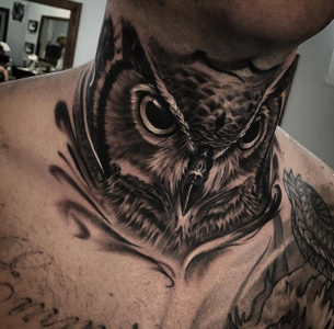 Guys Owl Neck Tattoo