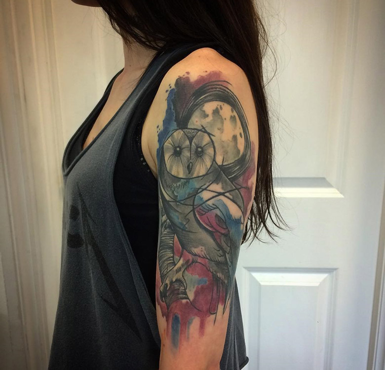 Owl Watercolor Girls Arm Tattoo