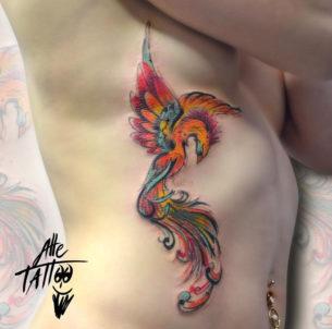Colorful Phoenix Side Tattoo