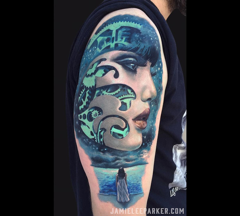 Girls Face with Cogs Arm Tattoo