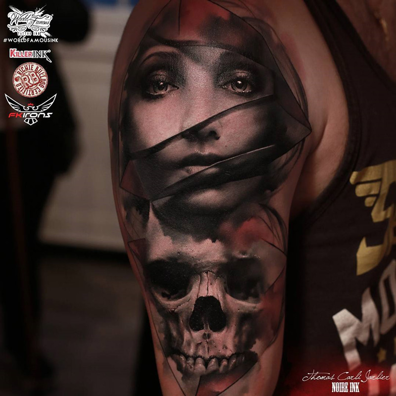 Portrait & Skull mens arm tattoo