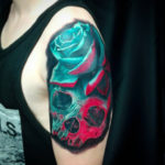 Skull & Rose Arm Tattoo