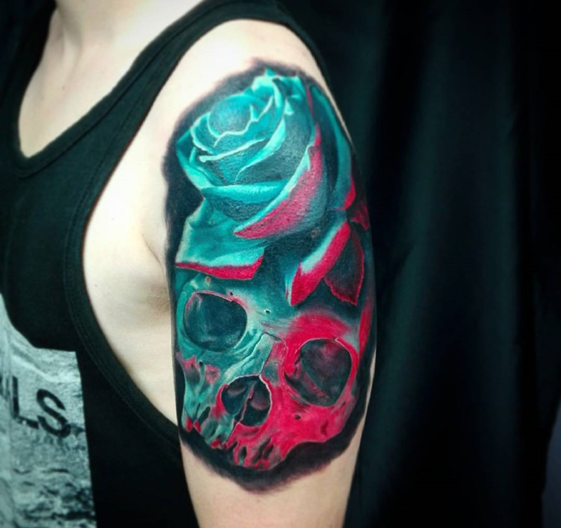 3D Skull & Rose, Mens Arm Tattoo   Best tattoo design ideas