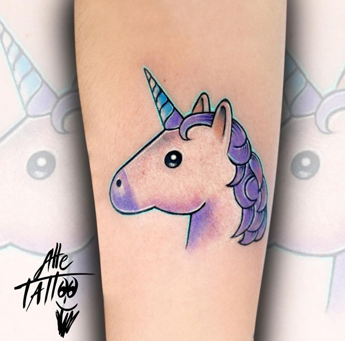 Unicorn Emoticon Tattoo
