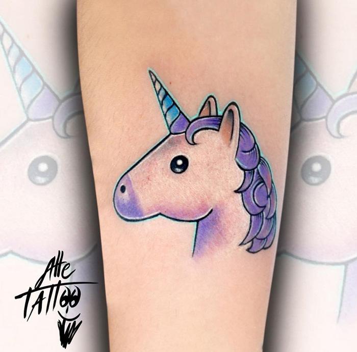Unicorn Emoticon Tattoo