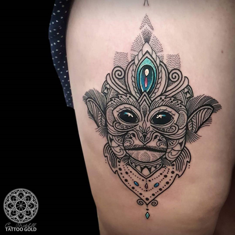 mosaic squirrel monkey thigh piece best tattoo ideas designs. Black Bedroom Furniture Sets. Home Design Ideas