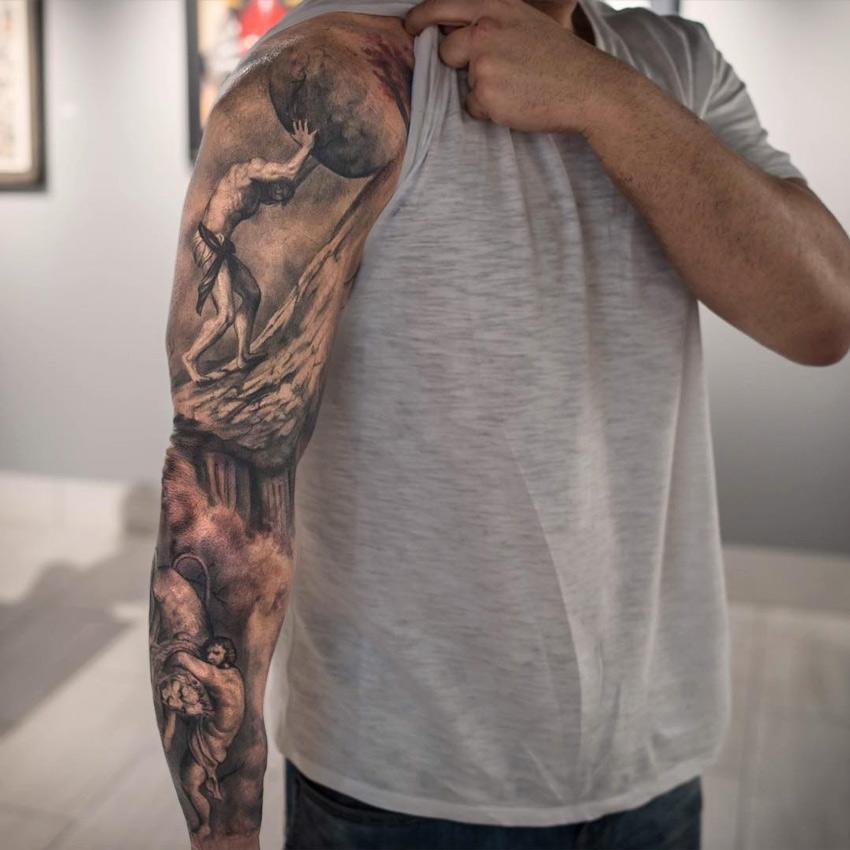 Sisyphus boulder hercules nemean lion best tattoo for Best tattoo artists in nyc 2017