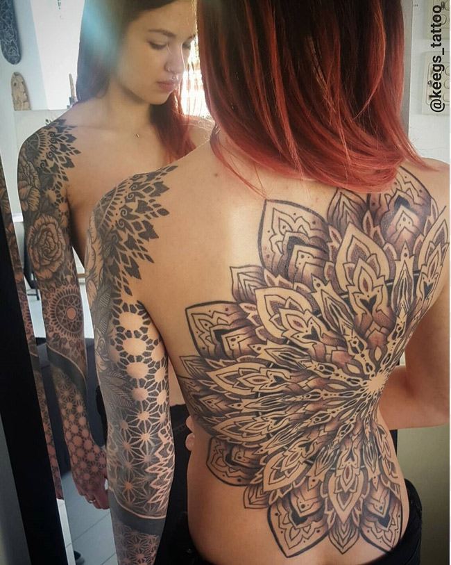 Mandala Back & Sleeve Tattoo