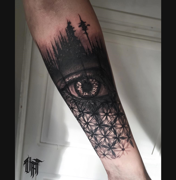 Trees, Eye and Geometric Pattern | Best tattoo design ideas