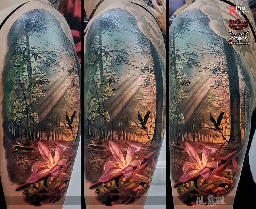 Forest tattoo with pink lily