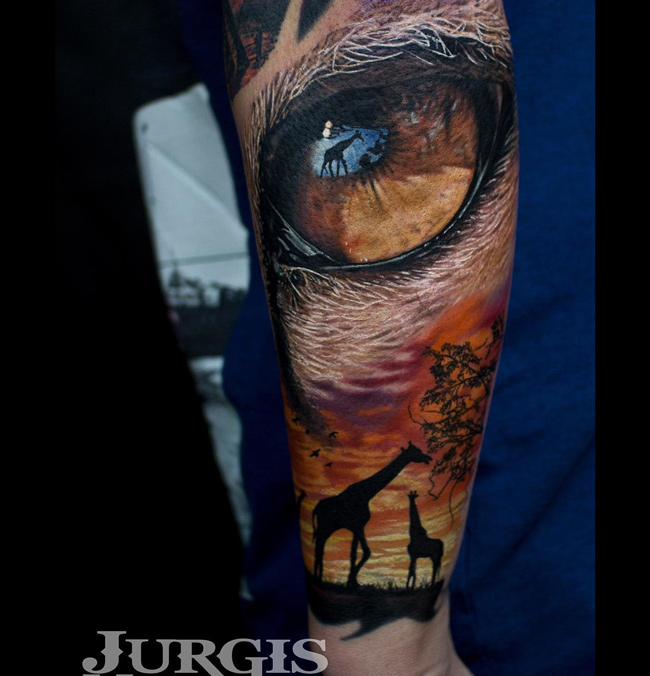 Giraffes & Lion Eye Tattoo