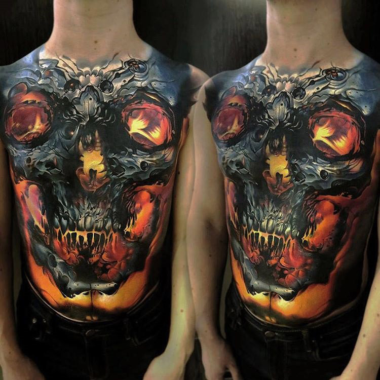 Glowing Skull Full Torso Tattoo