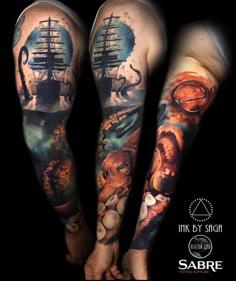 kraken sea monster mens sleeve best tattoo design ideas. Black Bedroom Furniture Sets. Home Design Ideas