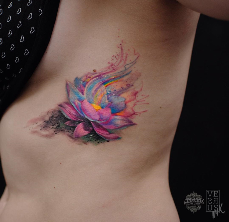 Lotus Flower Girls Side Tattoo