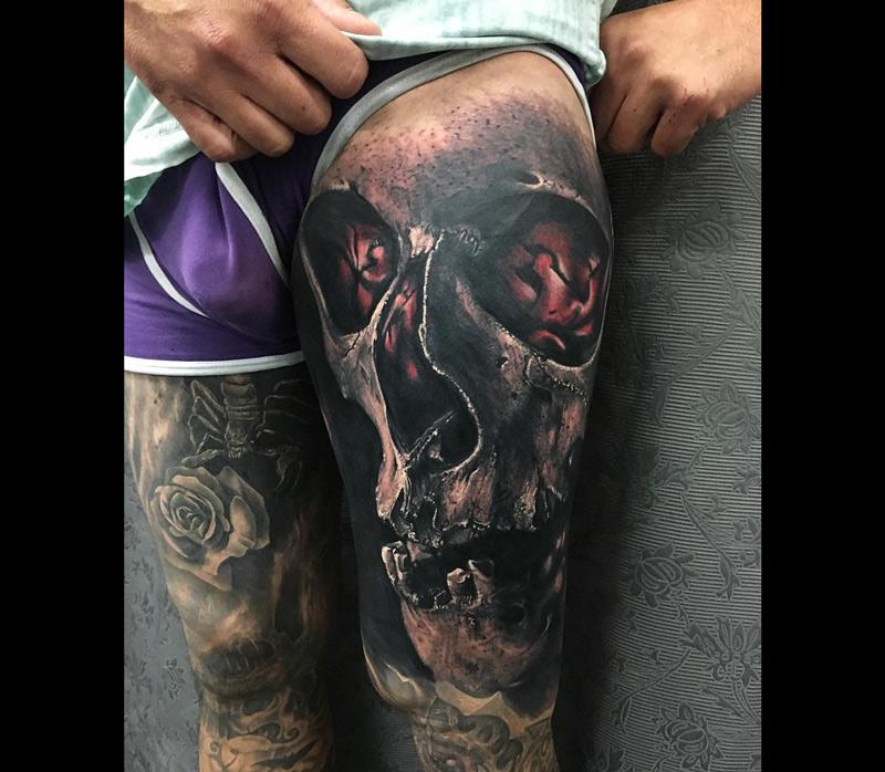 Macabre Human Skull