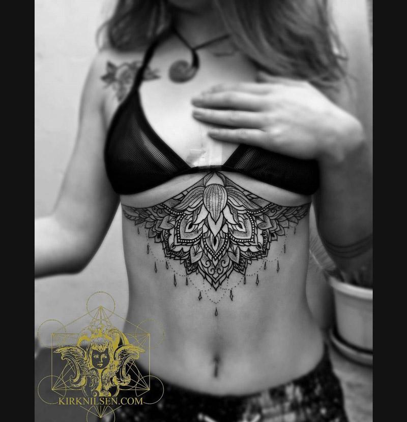 Mandala & Lotus Under boob Tattoo