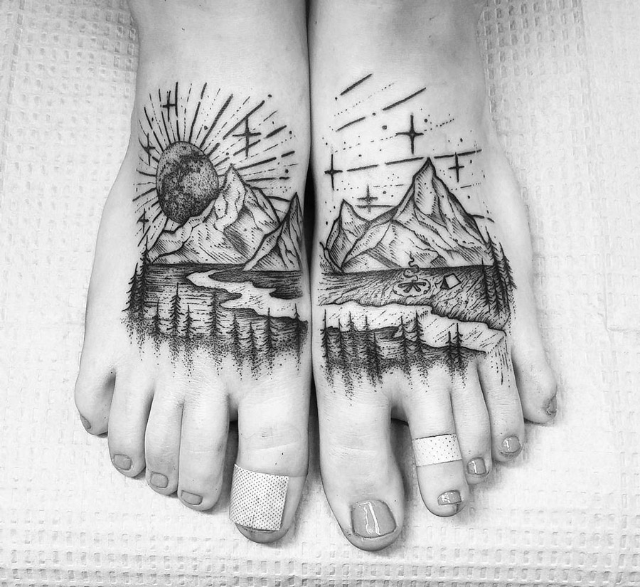 Mountains Foot Tattoo