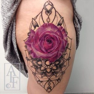 Pink Rose & Mandala Hip Tattoo