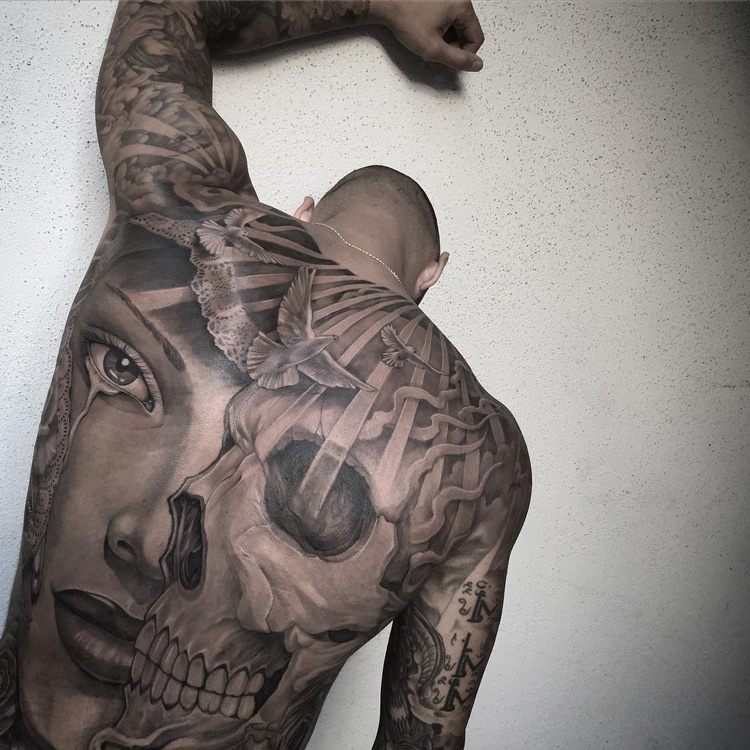 Skull & Portrait Mens Back Tattoo